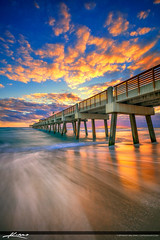 Juno Beach Pier Sunrise Vertical Rich Wave Flow (Captain Kimo) Tags: aurorahdr2017 captainkimo easyhdr hdrphotography junobeach junobeachpier sunrise wave