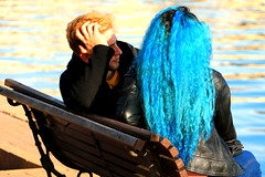 Call Me Blue (acwills2014) Tags: hair blue attractive woman girl light sunshine candidstreet vivid dramatic bluerinse curly