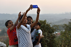 Selfie huddle (Rajib Singha) Tags: travel street people portrait trend photograph mobile group outdoor fun interestingness flickriver nikond7200 filmcity mumbai maharastra india