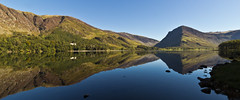 Seeing double! (Keith in Exeter) Tags: england panorama mountain lake reflection english water forest woodland landscape mirror nationalpark image outdoor lakedistrict wideangle double cumbria fells twice split crags buttermere chocolatebox abigfave