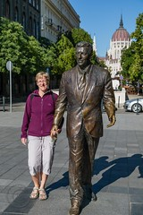 Budapest 2015 (5) 169 - Around and about Liberty Square - Ronald Reagan in bronze...and Jayne (Mark Schofield @ JB Schofield) Tags: park bridge blue church monument public statue stone bronze buildings river square soldier europe hungary elizabeth rooftops budapest transport guard tram parliament palace chain bloc eastern sculptures danube hungarian