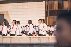 North Korea's 70th anniversary of Workers' Party Torch Show Students (reubenteo) Tags: city red tourism war asia fireworks military korea parade communism celebration kimjongil vip metropolis comrade socialism tanks workersparty northkorea pyongyang 70thanniversary dprk kimilsung kimjongun