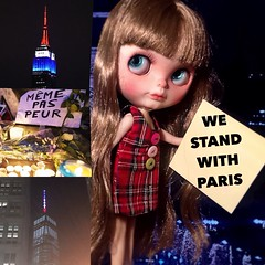 """Blythe-a-Day November #9 Lend a Helping Hand & #20 Sharing:  Marcelle: """"We Stand with Paris"""""""