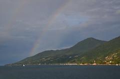 Rainbow (Fistarol) Tags: summer brazil sky cloud sun holiday art sol beach nature brasil clouds photography mar rainbow nikon paradise ship natureza msc d7000
