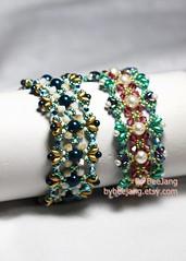 Odelia Bracelet (BeeJang - Piratchada) Tags: blue white green rose gold golden handmade jewelry bracelet pearl swarovski miyuki emerald beading beadwork petral beadweaving superduo