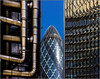 London - Melting building (Hervé Marchand) Tags: 2015 londres building immeuble details abstract gherkin generation old young cornichon