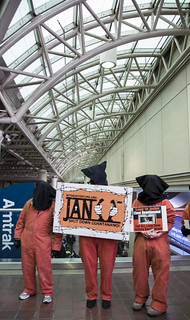 Protesters Hold a Sign Marking the January 11th Anniversary of Guantánamo's Opening