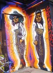 "LA in Autumn - Off Sunset - ""Tough Chicks"" Mural / ""Viva la raza ese"" (ramalama_22) Tags: la los angeles echo park gloomy atumn sunday sunset boulevard wall mural painting tough chicks chicas raza"