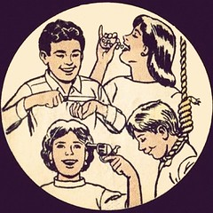 Suicide Funnies (kevin63) Tags: lightner cartoon kids teenagers noose pills gun happy suicide creepy smiling smiles knife wrist temple bottle pistol revolver