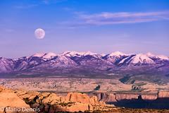 Moonrise, La Sal Mountains, from Mesa Arch, Canyonlands National Park (Mario Dennis) Tags: mesaarch canyonlands lasalmountains