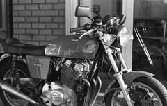 Sunny Laverda 1000 (Arne Kuilman) Tags: kerst 2016 nederland netherlands trix iso400 f100 nikon 50mm 50mmf14 film scan kodak d76 homedeveloped v600 limburg blackandwhite laverda laverda1000 driving rijden motorcycle motorbike motorfiets motor italian nakedbike