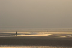 Golden hour at the Gormleys (Milou Diable) Tags: sunset seaside sea gormley gormleys anotherplace crosby liverpool dusk light reflection horizon golden goldenhour silhouettes sculpture