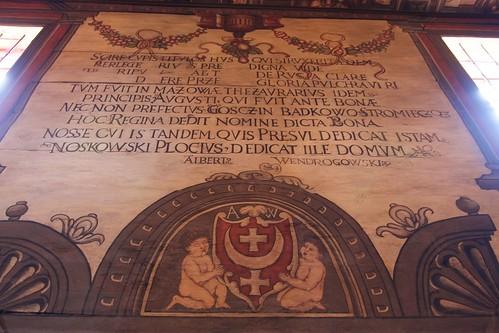 Inskrypcja fundacyjna na południowej ścianie nawy kościoła w Boguszycach