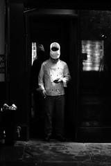 Chef (chilliandrice) Tags: canon 700d 50mm stm london soho chef work smoke smoking break night blackandwhite monochrome phone street