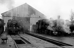 On shed at Loughborough (Andrew Edkins) Tags: loughborough 47406 jinty fowler 78018 shed steamtrain greatcentralrailway geotagged uksteam canon people railwayphotography lms standard2 britishrailways winter steamgala leicestershire england