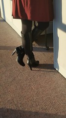 20170106_082623 (ph4eveh) Tags: black boots brown tights sexy legs woman candid