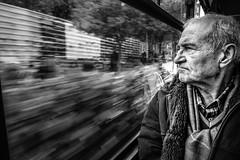 Thoughtful (Mustafa Selcuk) Tags: tram tramvay turkey istanbul siyahbeyaz bw bnw blackandwhite xpro2 fujifilm fujifilmtr monochromatic monochrome street streetphotography streetphotographer streetshooter oldman people concerned thoughtful