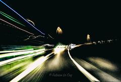 Avaler la pilule (Fabrice Le Coq) Tags: vert flou nuit route lumière bleu circulation voiture mouvement blur