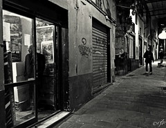 """Nocturnal Street_Capture"" (giannipaoloziliani) Tags: biancoenero blackandwhite monocolore monocolor monocromatico monochrome street suburbano suburbs narrow narrowstreet suburbsstreet night notte nero black strange hard hardestreet dark darkness scuro buio oscuro obscure situation moment capture streetcapture nightcapture people persone strong walls muri shop vetrina window lamps lampioni graffiti stones periferia periphery vicolo vicoli vicolidigenova caruggi alleys alleysofgenoa genoacity genoa genova liguria italia italy faces danger risk meetings"