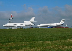 Visiting pair. (aitch tee) Tags: cardiffairport aircraft parked visitors parkedongolf bizjet daher n587g cwlegff maesawyrcaerdydd walesuk