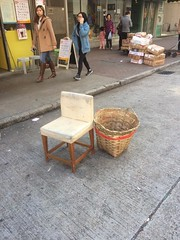 Yau Ma Tei - Temple Street (Cathy_Luo) Tags: yaumateiroad paralleltomarket taxiatfront exposedtotraffic observer shopkeeper publicspace notprotected fabricplastic chairbasket dirty old crackedcolour positioning