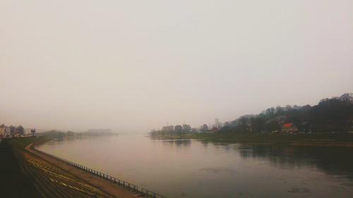 Nemunas river in Kaunas. Nemunas Kaune prie Vytauto Didžiojo tilto.