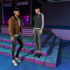 PROLOGUE (Levi Megadon // *OMG*) Tags: sl secondlife men mens male blogger blog look lotd outfit mesh clothing style fashion clothes sleepyeddy cap arcade event benjaminz gatcha necklace glasses semller hoodie jacket leather shirt tee white tshirt pants pumpkin loose low baggy jeans hoorenbeek sneaks sneakers shoes kicks newclover jumper sweater slacks valekoer runners modulus hair themensdept tmd