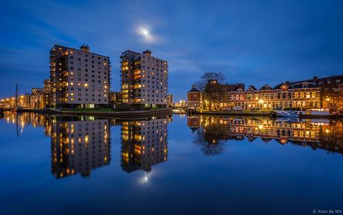 Moon over Groningen Oosterhaven