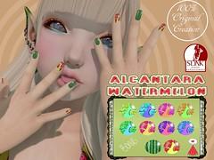 .Alcantara.WaterMelon Summer Varnish {Slink Hand&Feet}*WearMe* (Alcantara Store 100% Original Stuff) Tags: feet hand watermelon secondlife alcantara slink