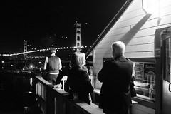 Smoke Break (veetownphoto) Tags: sanfrancisco california bridge people bar night canon bay candid group drinking deck event goldengatebridge alcohol porch bayarea mysterious sausalito bower yachtclub 6d aspherical rokinon canon6d samyang35mmf14 rokinon35mmf14