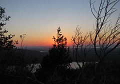 Cadillac Sunset (Sea Moon) Tags: trees sunset sky orange sun mountain evening dusk maine pines summit bushes