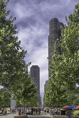 Promenade (AR_the old guy) Tags: trees people chicago buildings pier illinois raw skyscrapers towers navy promenade benches umbrellas toned lr57