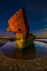 The Irish Trader. (darklogan1) Tags: longexposure nightphotography ireland beach boat rust ship tide logan wreck baltray lightpaint darklogan1