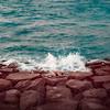 Close To The Break. (Adam Hague) Tags: blue boy sea selfportrait art water rock break body 85mm wave strength conceptual brunei phlearn