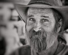 Texas Bob (Rob Castro) Tags: street travel portrait people urban blackandwhite bw white man film monochrome hat horizontal closeup austin happy texas market outdoor naturallight rangefinder oldman fujifilm cropped daytime facialhair grainy grayscale wrinkles seller bnw fleemarket tacodeli visualartist inmyworld xpressus xpro1 thedefiningtouch juznobsrvr justanobserver photographerinsoutherncalifornia 35mmxflens iamgenerationimage sellingtaco