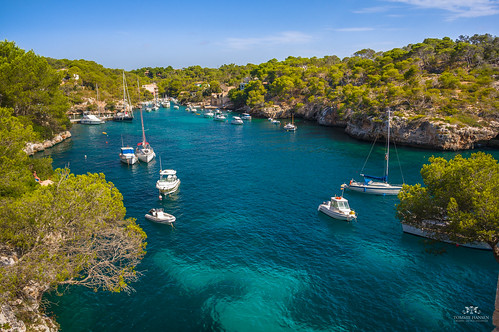 View of the bay in Cala Figuera, Mallorca (Spain)