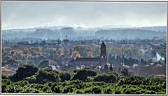 Pézilla 10-12-2015 (sergecos) Tags: france church nature fog landscape haze village steeple paysage église brume clocher fumée hdrenfrancais d7000 pézillalarivière