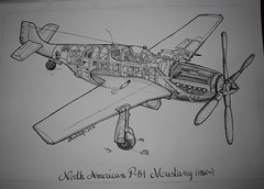 Mustang (Titta Hetherington 2) Tags: mustang aercraft diagram ink