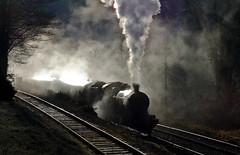 sunlight steam and shadow (midcheshireman) Tags: steam train llangollen wales 38xx 3802 santa special