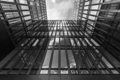 - Modern Office Look UP - (Mr. LookUP) Tags: abstractarchitecture architecture architektur hamburg office building lookup unique glassy front facade 2016 sky upwards blackandwithe blackwhite bw