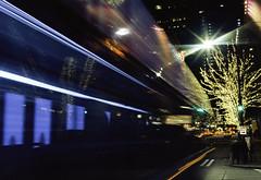 Missed It! (marq4porsche) Tags: seattle washington united states bus long exposure light streaks streak star sunstar city urban downtown tree christmas lights reflection motion kodak ektar 100 film canon eos 3 ef 50mm 12