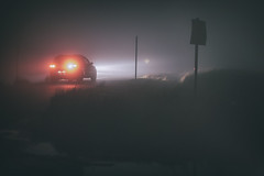 pea soup... (CatMacBride) Tags: driving fog night car