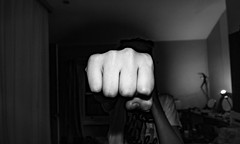 Punched (Angus Campbell King) Tags: black white fist punch bright