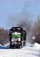 A bit of Alco smoke (Michael Berry Railfan) Tags: sfg sfg1819 sociétéduchemindeferdelagaspésie gaspe gaspesie train windmilltrain winter snow