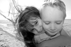 Windy (abehs) Tags: bw lake cute beach kids spring windy 2006 photographybyjodi