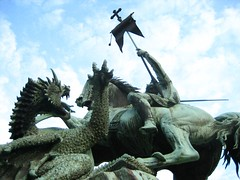 amazing george and dragon statue (Patient Dinosaur) Tags: berlin statue germany george dragon spree ixus55