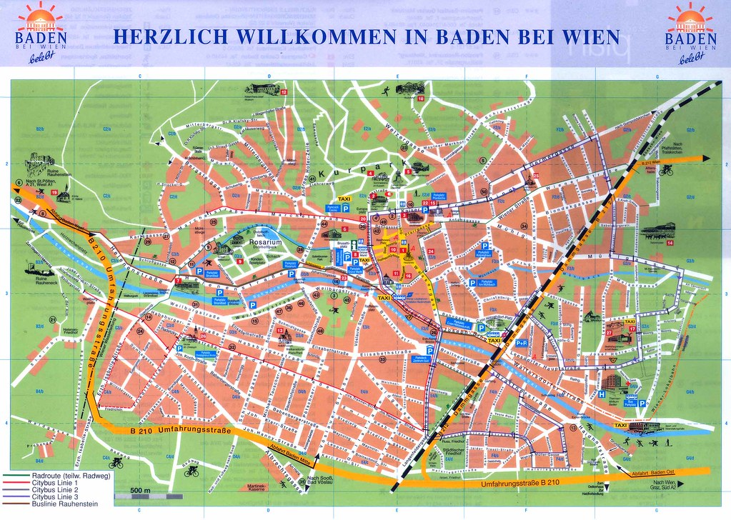 Stadtplan Baden bei Wien
