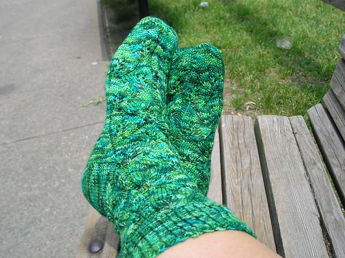 Green Embossed Leaves Socks 2