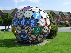 """The Magic Roundabout"", Cardiff (Richard and Gill) Tags: sculpture sign wales roundabout cardiff streetsigns roadsigns welsh magicroundabout trafficsigns vivant pierrevivant"