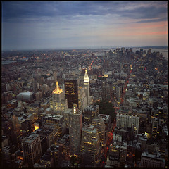 NYC Skyline (T. Scott Carlisle) Tags: nyc sunset urban newyork film skyline hasselblad crop chrysler tsc portra160 tphotographic tphotographiccom tscarlisle tscottcarlisle